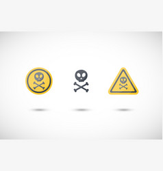 Poison sign flat icons set vector