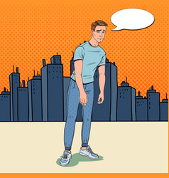 Pop art depressed young man in the city vector
