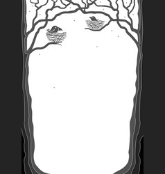 portrait frame with tree silhouettes vector image