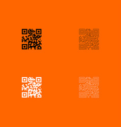 Qr code black and white set icon vector