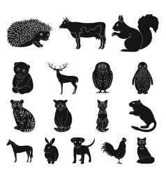 Realistic animals black icons in set collection vector