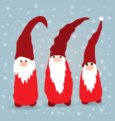 Scandinavian christmas gnomes in winter background vector