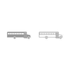 school bus grey set icon vector image