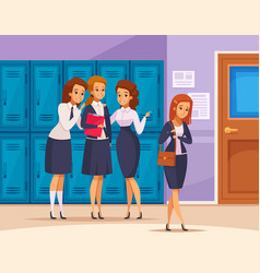 School girls bullying composition vector