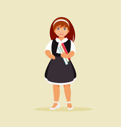 schoolgirl with books vector image