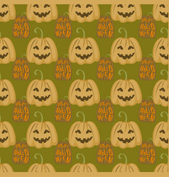 seamless pattern halloween silhouettes dark retro vector image