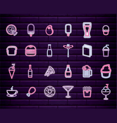 set fast food with drink neon light label vector image