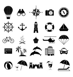 set holiday vacation icons vector image