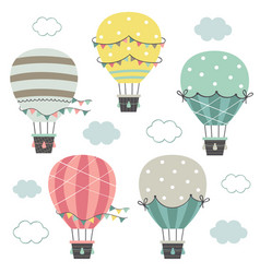 set isolated hot air balloons part 1 vector image