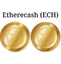 Set of physical golden coin etherecash ech vector
