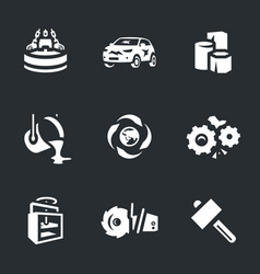 Set of scrap processing icons vector