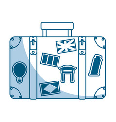 shadow suitcase cartoon vector image