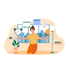 Skillful female character is juggling work vector