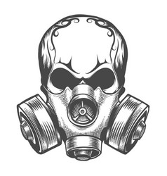 skull in a gas mask vector image