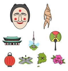 south korea set icons in cartoon style big vector image