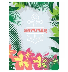 Summer card with tropic flowers vector image vector image