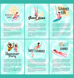 summer time fun relax people by seaside vacation vector image