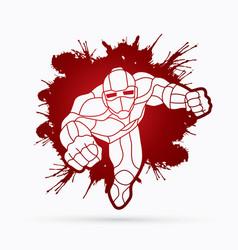 superhero robot flying action cartoon superhero vector image