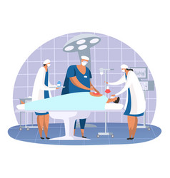 surgery room with patient at hospital vector image