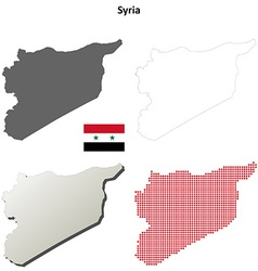 Syria outline map set vector