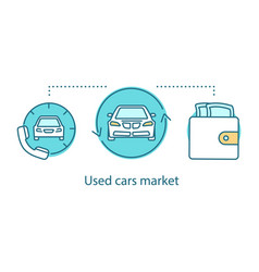 used cars market concept icon vector image