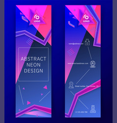 vertical neon blue pink banners triangle design vector image