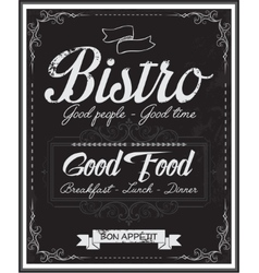 Vintage black school board bistro menu vector image