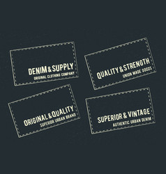 vintage denim labels set badge stamp applique vector image