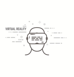 VR headset line style vector image