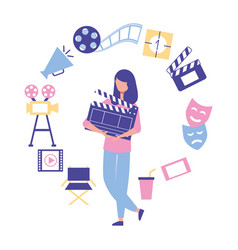 woman holding clapperboard production movie film vector image