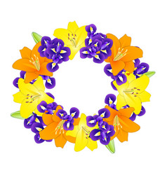 Yellow orange lily and blue iris flower wreath vector