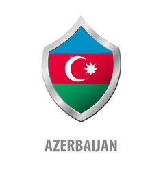 azerbaijan flag on metal shiny shield vector image