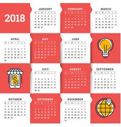 Calendar for 2018 year design template week vector