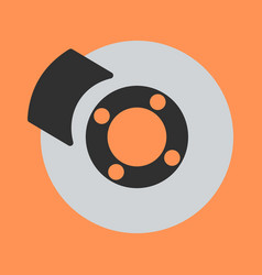 car brakes flat icon on background vector image