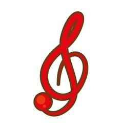cartoon treble clef musical paper icon vector image