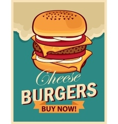 cheeseburger on retro style vector image