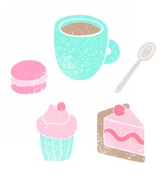 Cup spoon cake macaroon cupcake vector image vector image