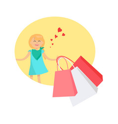 happy young girl with bags isolated vector image