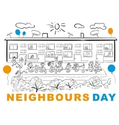 Neighbors Day Neighbors at banquet table in yard vector image vector image