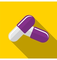 Pill flat icon vector image vector image