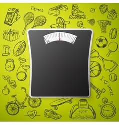 scales and hand draw sport icon vector image vector image