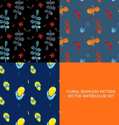 Seamless pattern watercolor set of 3 vector image
