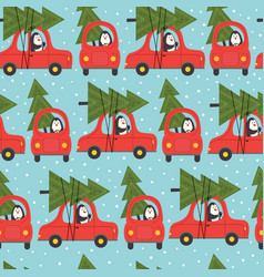 seamless pattern with penguin in car vector image