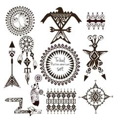 Tribal native american set vector image