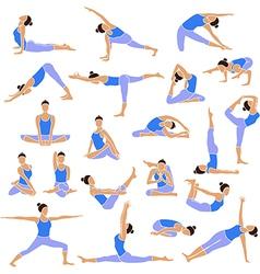 Yoga set icons vector image vector image