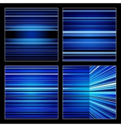 Abstract blue striped colorful backgrounds set vector image