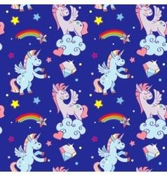 Cute unicorns clouds rainbow magic wand vector image