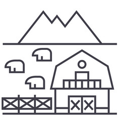 farm in tuscany line icon sign vector image