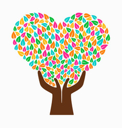 hand tree concept color heart shape vector image vector image