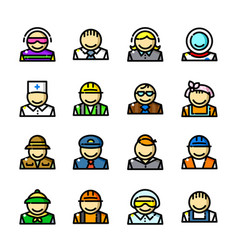 professions icons set vector image